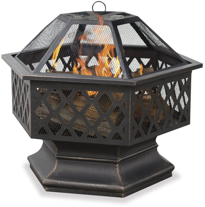 <b>Endless Summer</b> 24 in. Hex Shaped Outdoor Fire Bowl with Lattice, Oil Rubbed Bronze