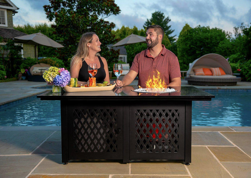 <b>Endless Summer</b> 54 in. DualHeat LP Gas Outdoor Fire Table w/Black Granite Mantel