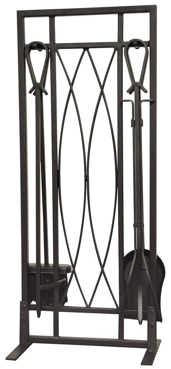 <b>Uniflame</b> 5-Piece Set Black Ornate Fireset With Horshoe Handles
