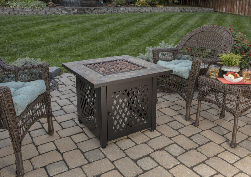 <b>Endless Summer</b> 30 in. LP Gas Outdoor Fire Pit with Slate Tile Mantel