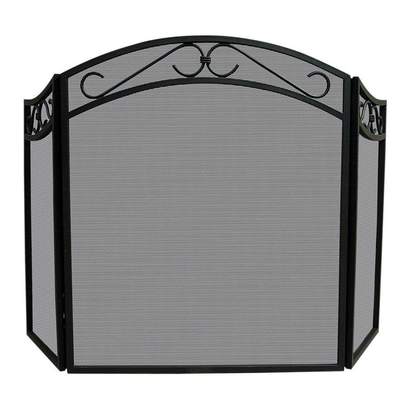 <b>Uniflame</b> 3 Fold Black Wrought Iron Arch Top Screen with Decorative Scrolls