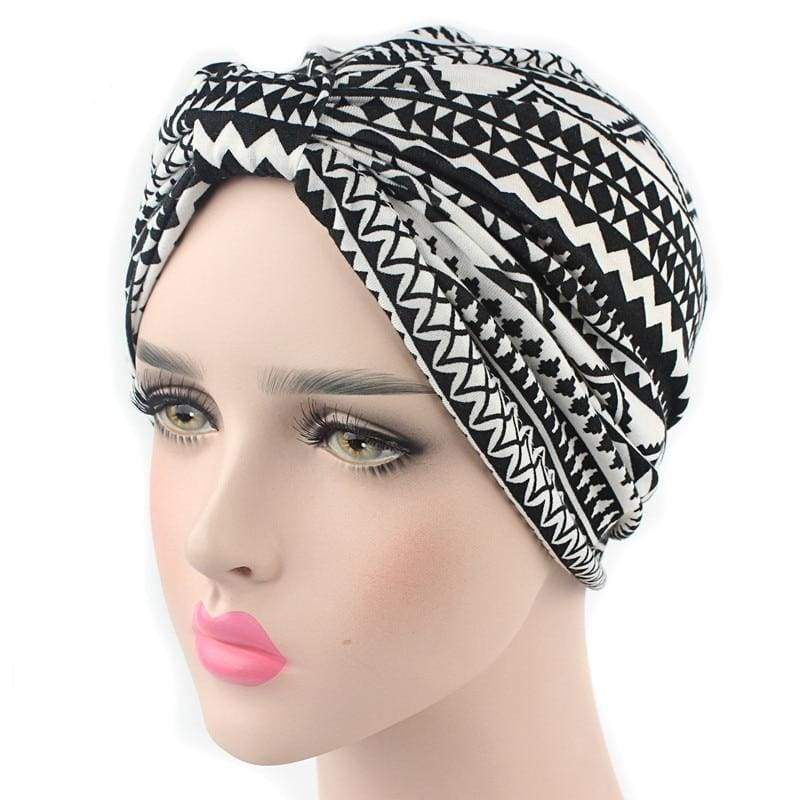 Turban Drag Aztec (Black or Navy) Black Turban