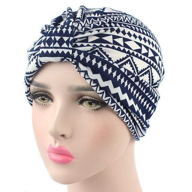Turban Drag Aztec (Black or Navy) Navy Turban