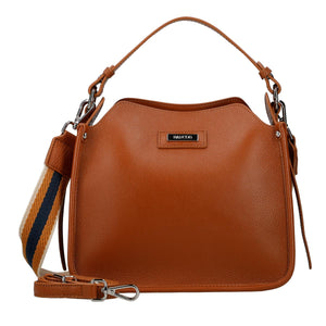 3 Way Leather Handbag w/ Metal Logo