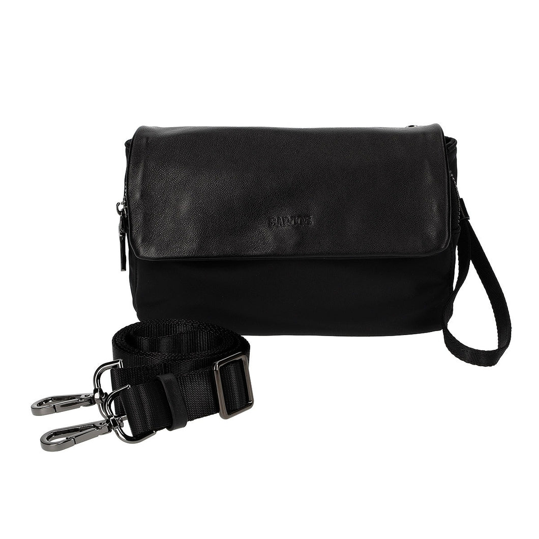 Leather & Nylon Mini Pochette with Shoulder Strap Attachment