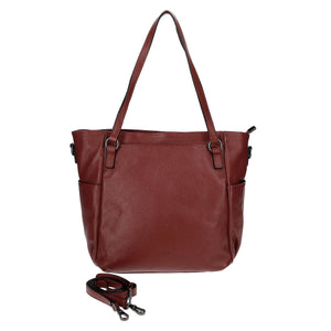 2 Way Leather Handbag with front and side pocket