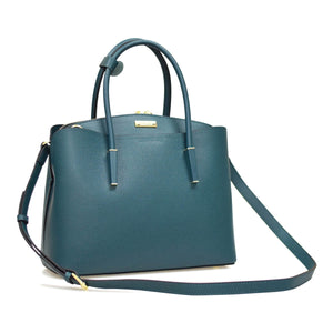 3 Compartment Round Handle Leather Handbag
