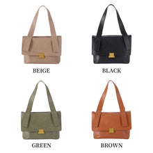 Load image into Gallery viewer, 2 Way Leather Shoulder Bag with Front Square Metal Fittings