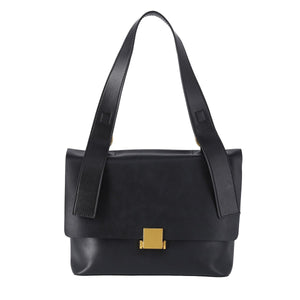 2 Way Leather Shoulder Bag with Front Square Metal Fittings