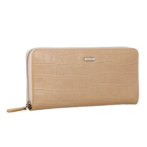 Crocodile Embossed Leather Long Wallet