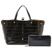 Load image into Gallery viewer, Crocodile Embossed Leather Tote Bag and Long Wallet Bundle