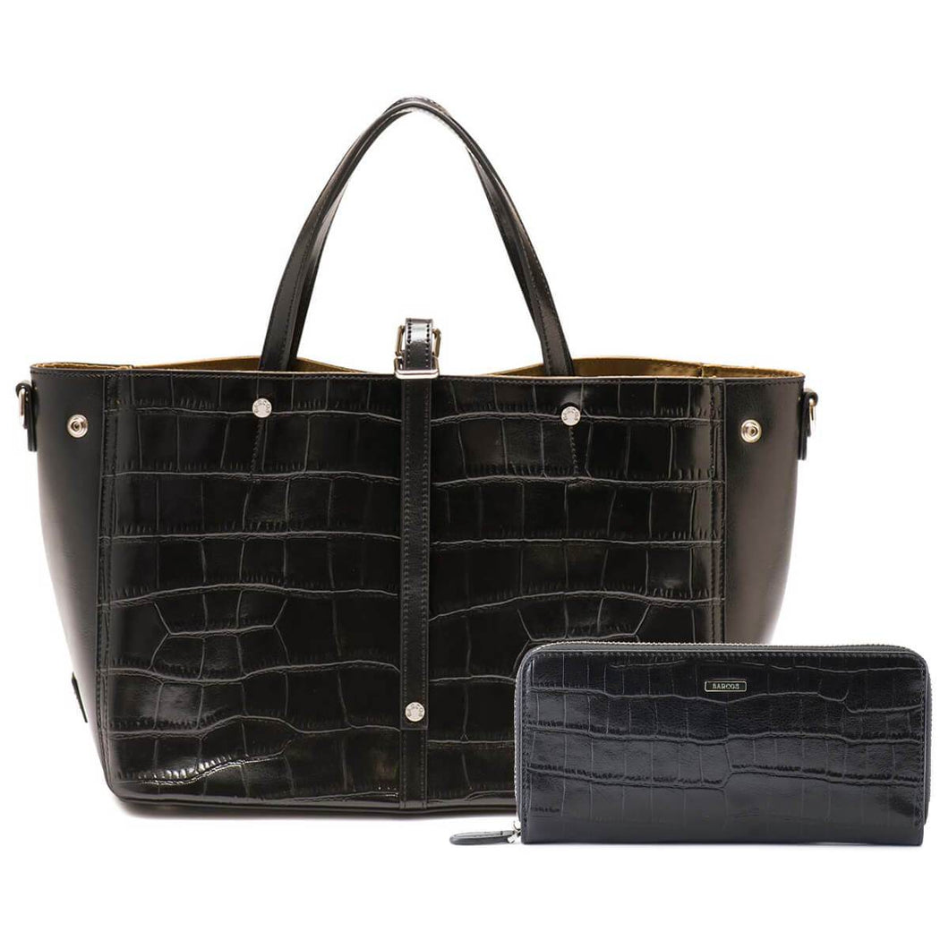 Crocodile Embossed Leather Tote Bag and Long Wallet Bundle