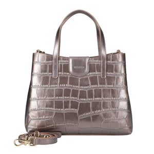 Crocodile Embossed Leather Mini Handbag