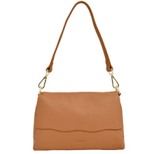Load image into Gallery viewer, 2 Way Leather Shoulder Bag with Flap Pocket