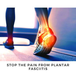 ZaTech® Compression Socks. A walking person with x-ray representation of their back foot showing the are where Plantar Fasciitis hurts. The text under the picture reads Stop the pain from Plantar Fasciitis.