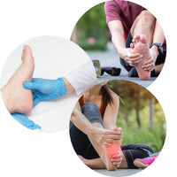 ZaTech® Compression socks. A collage of foot pain caused by Plantar Fasciitis. A woman and a man holding their painful feet and a professional examining a foot.