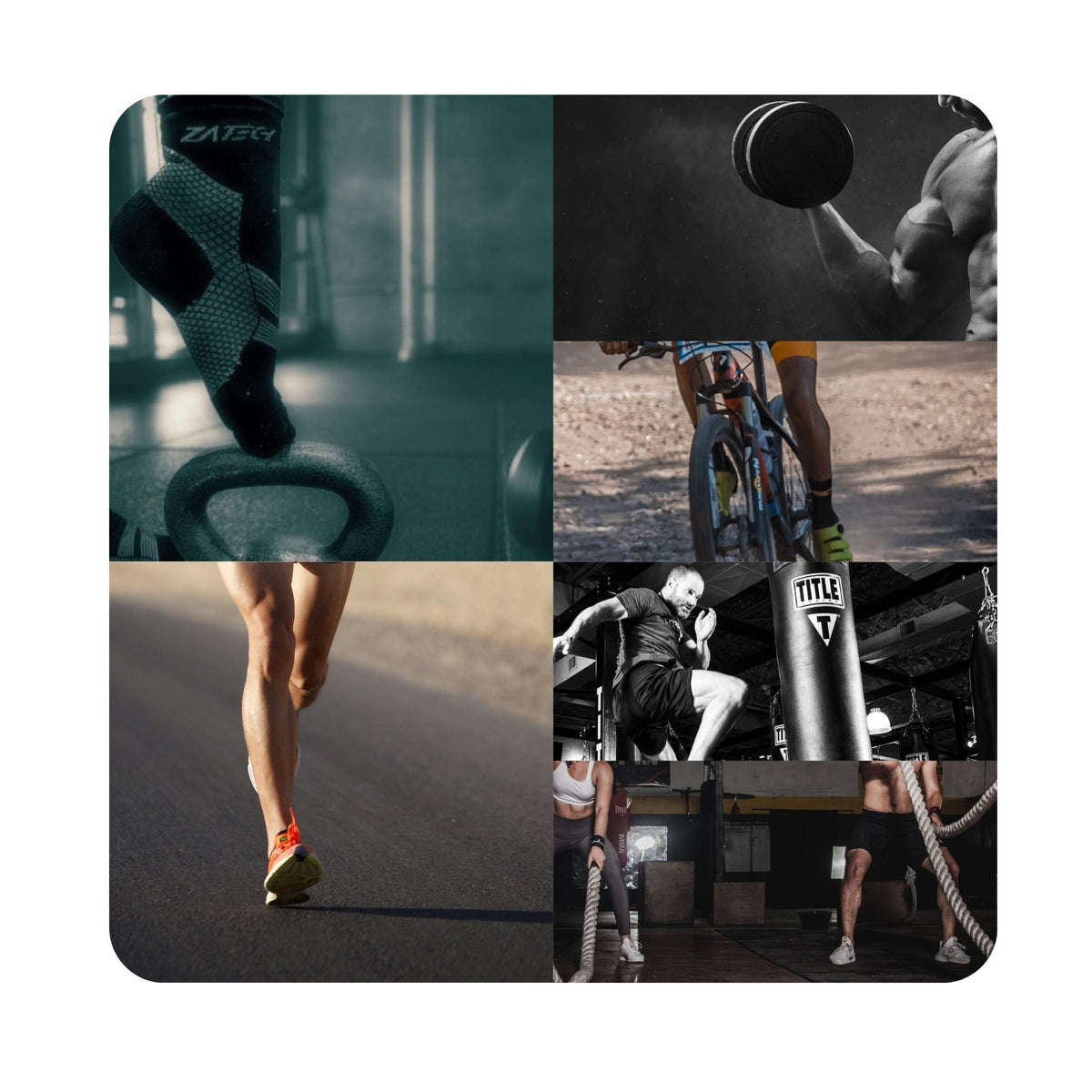 ZaTech® compression socks. Wholesome training and recovery. A collage of work out activities. ZaTech® compression socks can help boost performance and stamina and aid recovery. Kettlebell, man curling biceps, running, kickboxing and crossfit activities