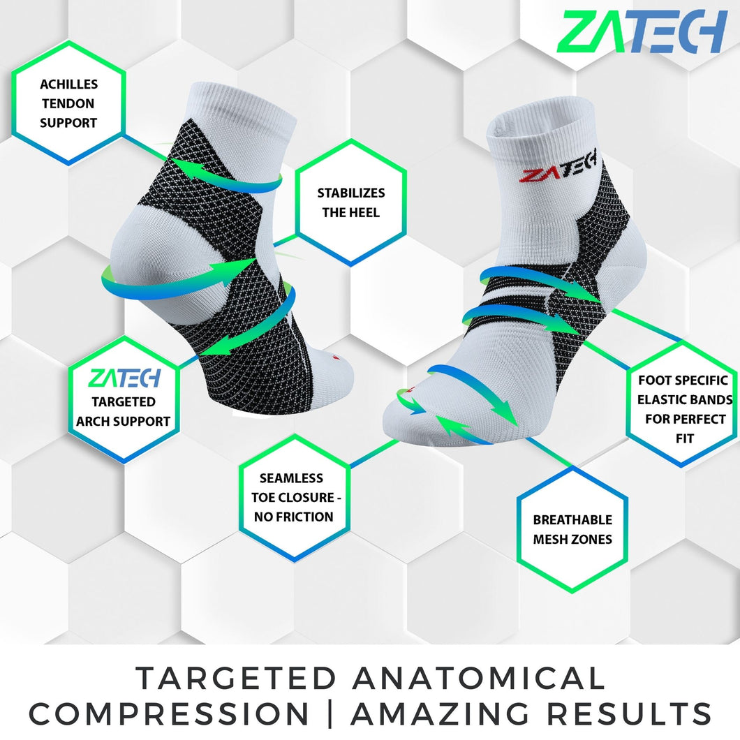 ZaTech® Compression Socks. A structured map of the socks compression zones and their benefits. White pair of Quarter Cut Edition with hexagonal design as a background. Text under picture reads targeted anatomical compression, amazing results.
