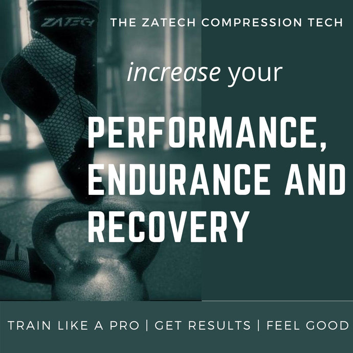 ZaTech plantar fasciitis workout compression socks - image of a  quarter cut edition socks with a kettle bell. Text reads ZaTech compression tech, increase your performance, endurance and recovery; train like a pro, get results, feel good