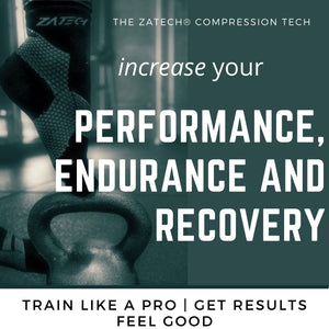 ZaTech® Compression Socks. Image of a foot in black Quarter Cut Edition with toes resting on a kettle bell. Text reads Increase your performance, endurance and recovery. Text under the picture reads Train like a pro | Get results | Feel good