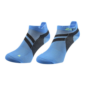 A pair of blue Low Cut Edition by ZaTech® socks on white background.