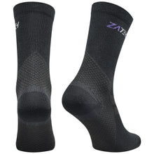Load image into Gallery viewer, A pair of black Merino Wool Edition by ZaTech® socks on white background. Back left angle.