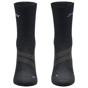 A pair of black Merino Wool Edition by ZaTech® socks on white background. Front center angle.