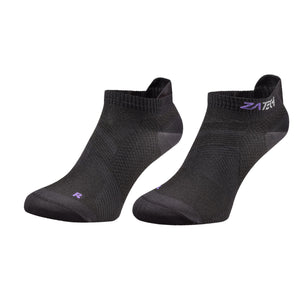 A pair of black Low Cut Edition by ZaTech® socks on white background