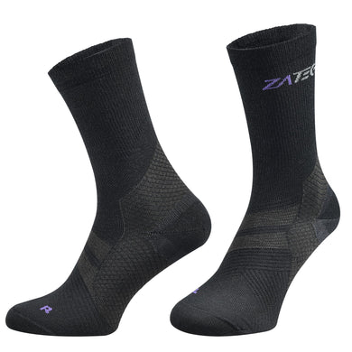 A pair of black Merino Wool Edition by ZaTech® socks on white background. Front left angle.