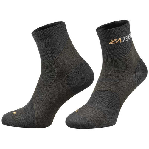 A pair of black on black  Quarter Cut Edition by ZaTech® socks on white background.