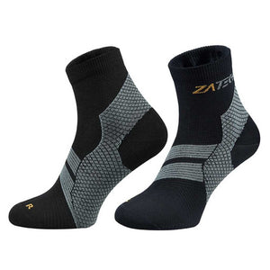 A pair of black on gray Quarter Cut Edition by ZaTech® socks on white background.