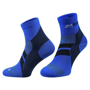 A pair of blue Quarter Cut Edition by ZaTech® socks on white background.