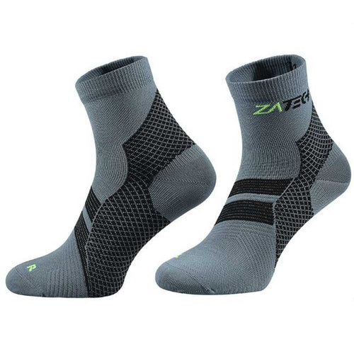 A pair of gray Quarter Cut Edition by ZaTech® socks on white background.