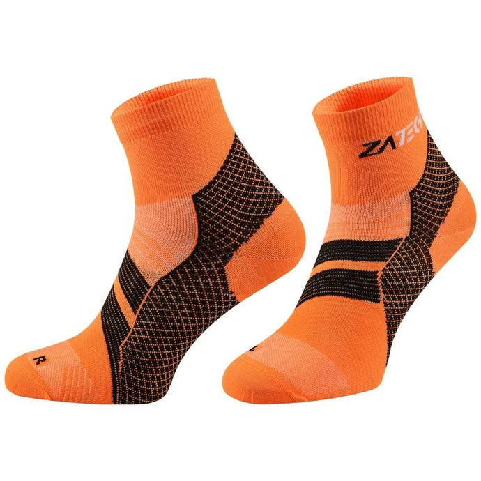 A pair of orange Quarter Cut Edition by ZaTech® socks on white background.
