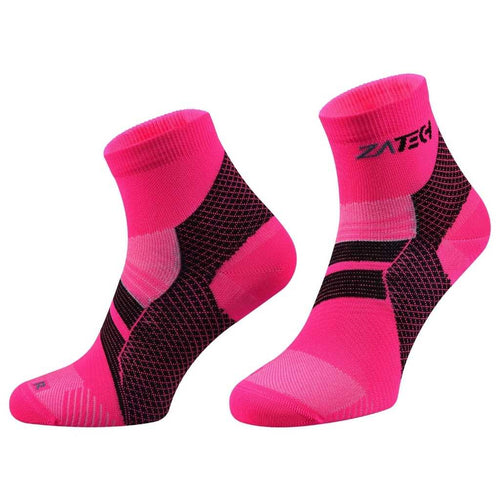 A pair of pink Quarter Cut Edition by ZaTech® socks on white background.