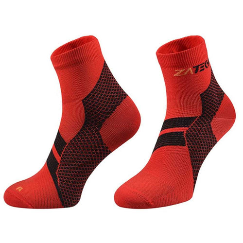A pair of red Quarter Cut Edition by ZaTech® socks on white background.