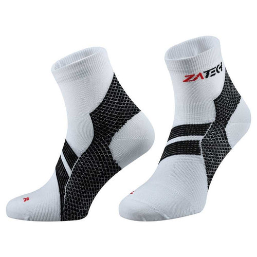 A pair of white Quarter Cut Edition by ZaTech® socks on white background.