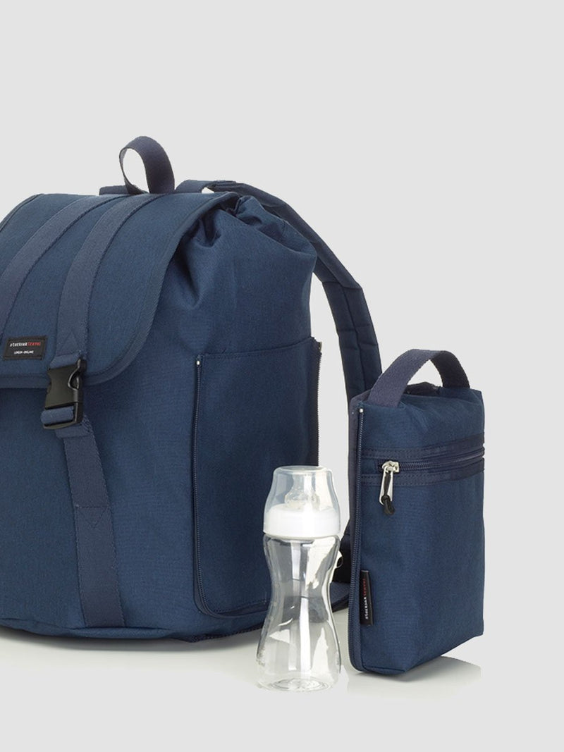 Storksak Backpack Navy Changing Bag l With insulated bottle or snack holder