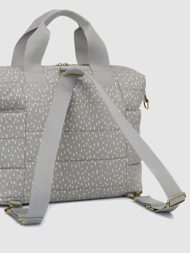 storksak organic cotton tote grey raindot, convertible straps