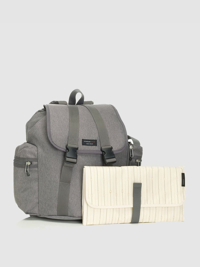 storksak travel backpack grey, rucksack changing bag, comes with changing mat with pockets for nappies and wipes