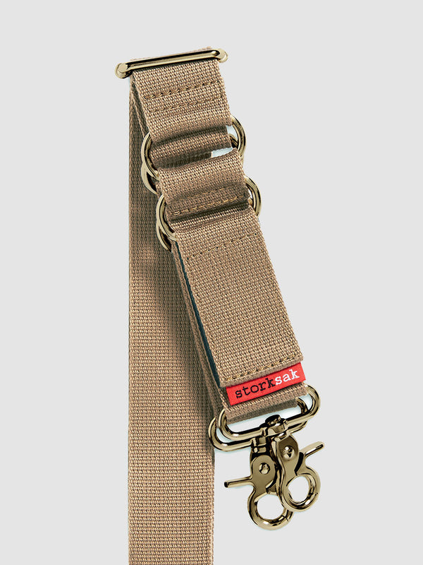 storksak long strap with integrated stroller straps, beige and brass