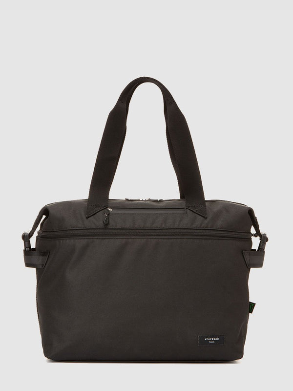 storksak travel eco expandable tote black, front view