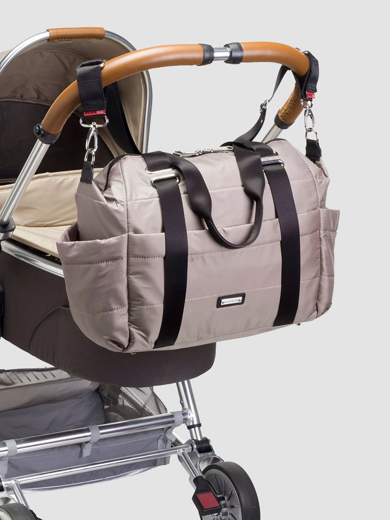 Storksak Sandy Taupe Changing Bag l Attached to a stroller
