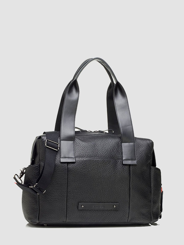 Kym Leather Black Changing Bag l Front View