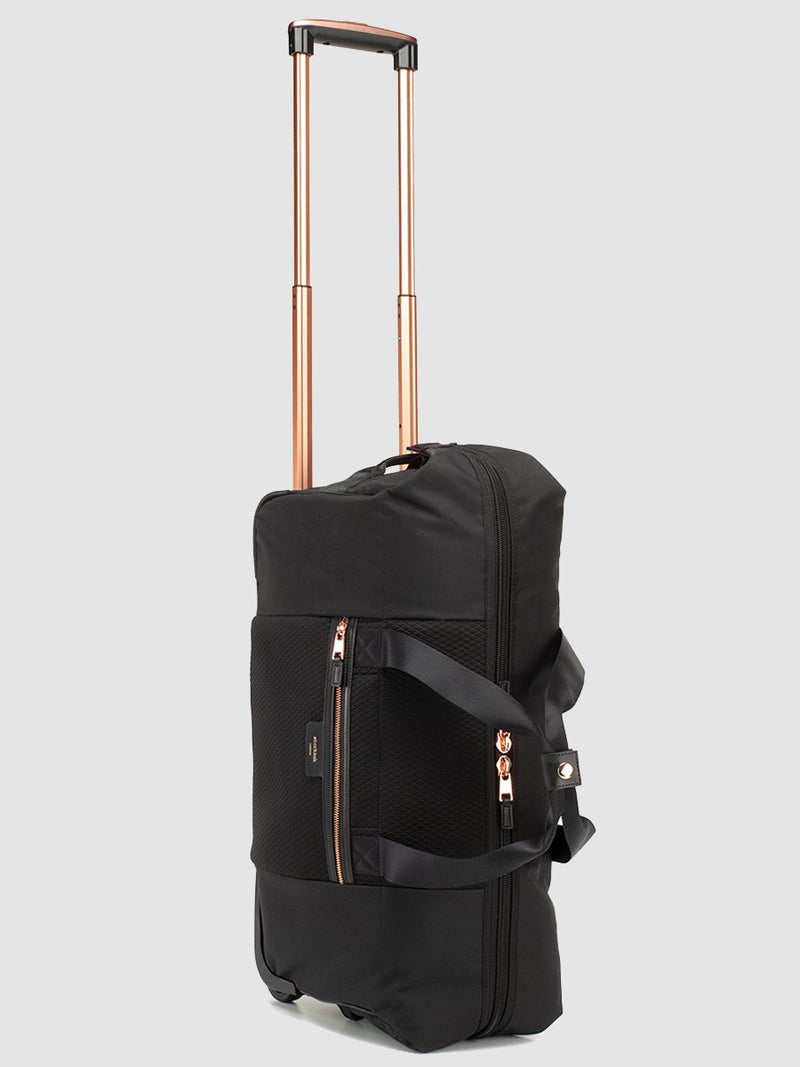storksak cabin carry-on scuba black | hospital bag with rose gold trims | wheeled weekend bag with rose gold handle