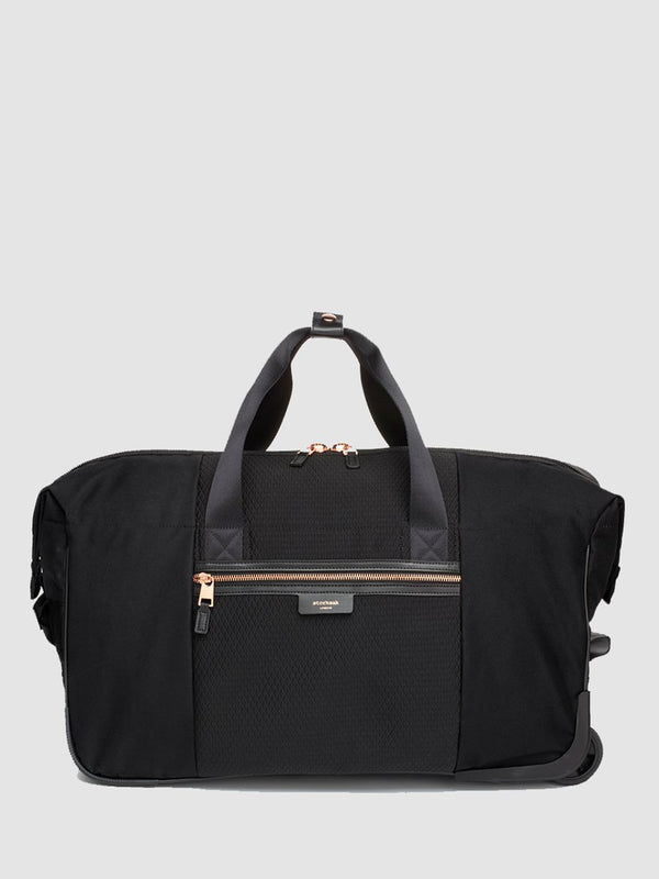 storksak cabin carry-on scuba black | hospital bag with rose gold trims | weekend bag with wheels