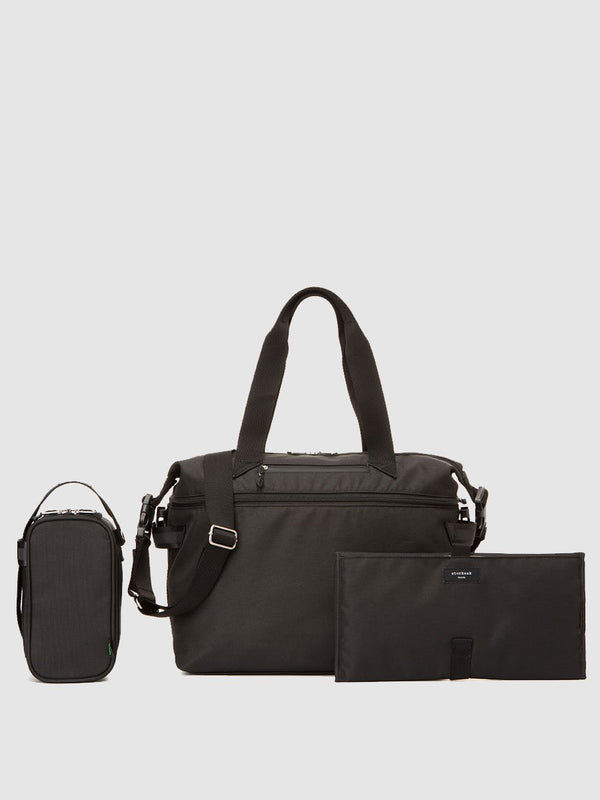 storksak travel eco expandable tote black, with changing mat and insulated pouch