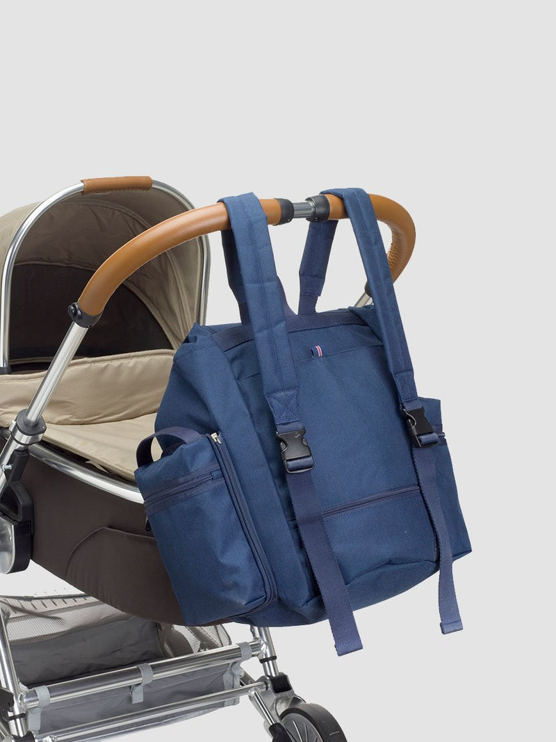 Storksak Backpack Navy Changing Bag l Attached to a stroller