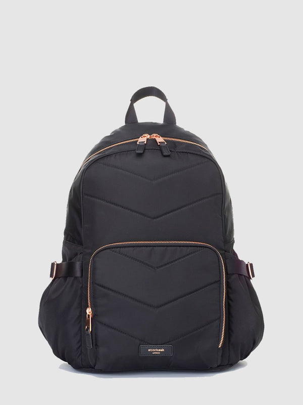 storksak hero quilt black, changing bag backpack, in quilted nylon with rose gold hardware