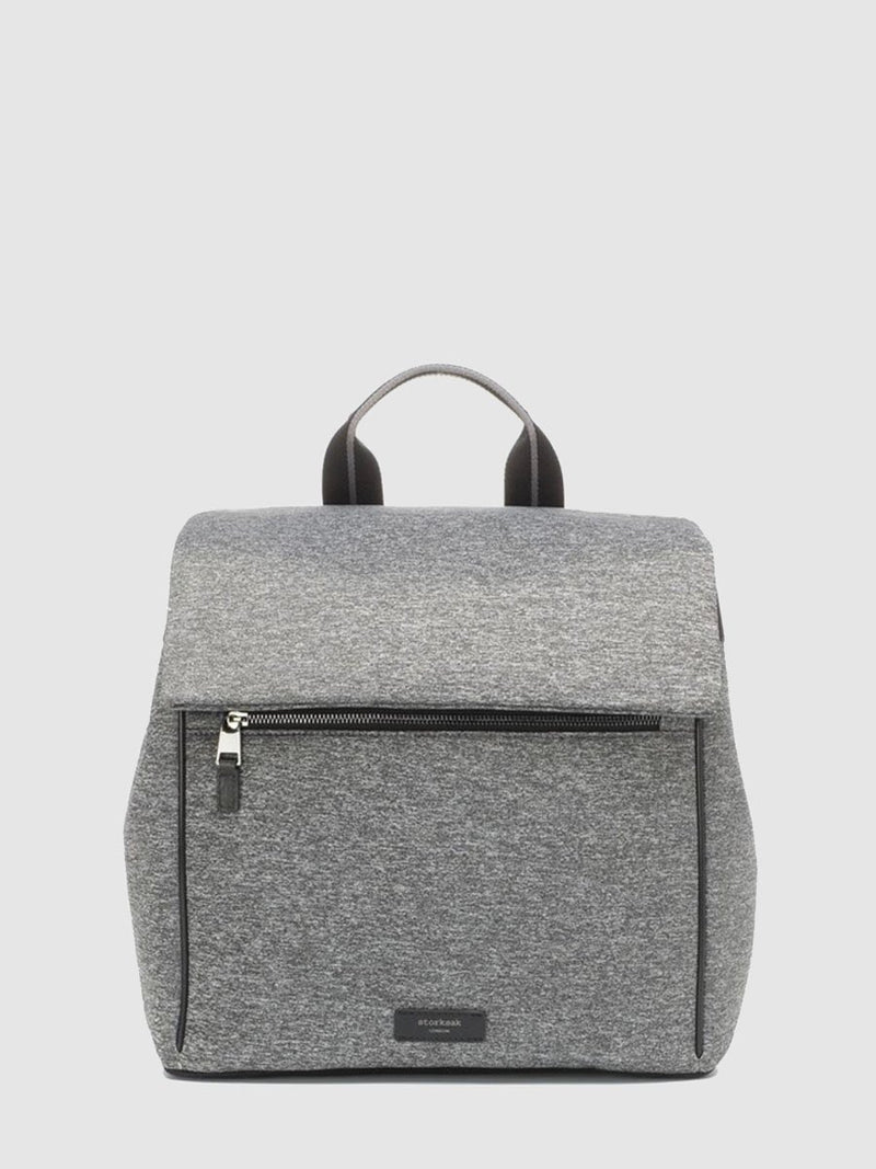 storksak st james scuba grey marl, convertible changing bag, front view